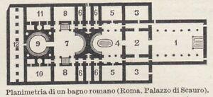 G7070 Rome - Palace Scauro - Plan Bathroom Romano - 1925 Vintage Map