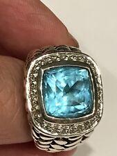 SCOTT KAY Sterling Silver Heavy Basketweave Blue Topaz/Diamond Ring Sz 6 26.1 Gr