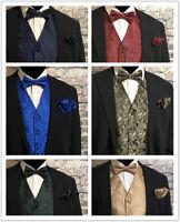 Men PAISLEY Design Dress Vest & Bow Tie & Hankie Set For Suit or Tuxedo 6 COLORS