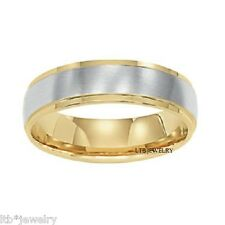 10K TWO TONE GOLD MENS WEDDING RING, 6.5MM SATIN FINISH SOLID GOLD WEDDING BANDS