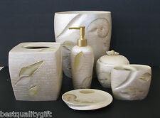 6 Pezzi Perla,Avorio Dipinto a Mano Conchiglia in Ceramica Set Completo + Trash