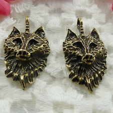 Free Ship 66 pieces bronze plated wolf pendant 31x17mm #247