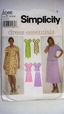 Simplicity 8086 Sewing Pattern, Semi Fitted Dress, Top & Skirt-Cut to Size 16