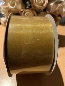 ORGANZA WIDE GOLD SHEER RIBBON 50mm x 50 METRES EXTRA LARGE ROLL