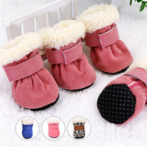 4pcs Pet Dog Winter Shoes Anti-Slip Fleece Snow Booties Boots Small Medium Dogs