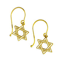Real 375 9ct Star of David Outline Earrings Jewish Faith Religion Belief Stars