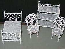 Miniature White Metal  BOOKSHELF, BED & CHAIR DOLLHOUSE Furniture