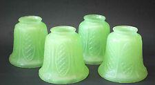 4 VINTAGE GREEN DEPRESSION GLASS PEBBLED SHADES CHANDELIER LAMP LIGHT DECO SET