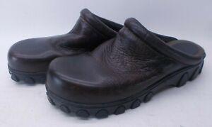 Mia Sophia Leather Dark Brown Clogs Size 10M Knobby Bottoms