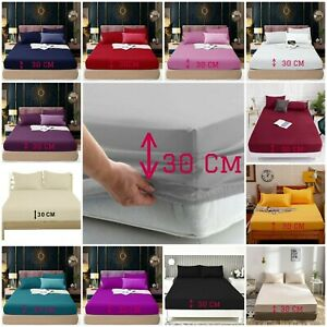100% Poly Cotton Extra Deep 30cm Elastic Fitted Sheet Full Bed Sheets In AL Size