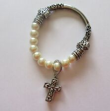 Fashion  Bracelet- stretchy- Silver color Cross Charm-white pearl beads