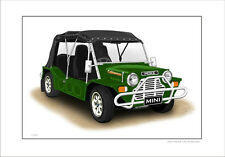 MINI  MOKE CALIFORNIAN   LIMITED EDITION CAR DRAWING  PRINT  (6  CAR COLOURS)