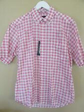 NEW Reyn Spooner Medium M Hawaiian Pink White Plaid Check Palm Cotton Shirt NWT