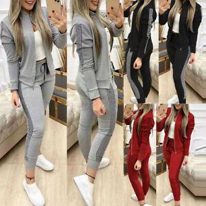 UK Women's 2PCS Tracksuit Zipper Coats + Pants Set Ladies Sport Wear Lounge Wear