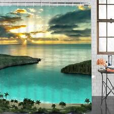 Natural Shower Curtain Ocean Sunset Curtain Background Bathroom Decor with Hooks