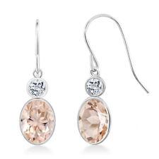 1.58 Ct Oval Peach Morganite White Topaz 14K White Gold Earrings