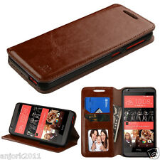 For HTC Desire 626 / 626s / 530 Folio Pouch Wallet w/Stand+ID Slot Cover Brown