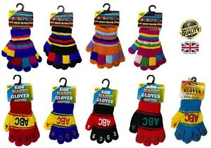 New Kids 1-6 Yrs Gripper ABC Alphabet or Stripe Theme Winter School Warm Gloves