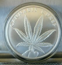 Cannabis Cures 1 OZ .999 Silver Shield weed mary jane Marijuana pot limited 2016