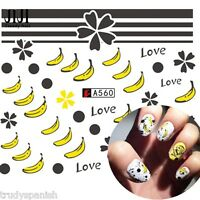Nail Art Water Decals Stickers Transfers Go Bananas Nail Art Gel Polish (A560)