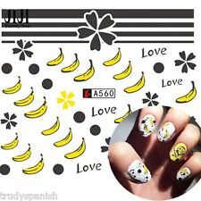 NAIL ART ACQUA Decalcomanie Adesivi trasferimenti GO BANANA NAIL ART SMALTO GEL (A560)