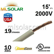 15FT 10 AWG Sungen Solar PV Wire 2000V Cable UL 4703 Copper MADE IN USA