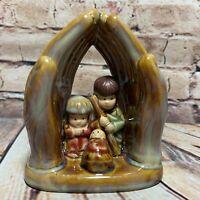 "Glazed Praying Hands w/ Nativity Manger Scene Mary Joseph Baby Jesus Ceramic 4"""