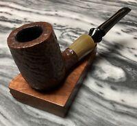 Vintage Estate Savinelli Nonpareil Rustic Billiard Pipe 1928-Horn Ferrule Nice!