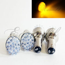 1157 4 Pc BAY15d 7528 Yellow Round 19 LED Bulb #St1 Rear Front Turn Signal Park