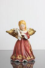 Weihnachtsengel Engel Harfe Weihnachten Rot Goldrand Flügel Keramik Deko