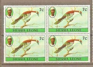 SIERRA LEONE BIRDS SG476b 1982 IMPRINT AT BOTTOM OF THE STAMP WWF BLOCK OF 4 MNH