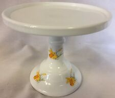 Cake Plate Pastry Tray Bakers Cupcake Stand Daffodils Plain Simple Milk Glass