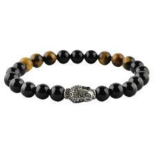 Onyx Tiger Eyes Beaded Elastic Bracelets Stainless Steel Buddha Beads 8mm Black