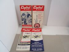 4 Vintage CAPITAL  AIRLINES Timetables 1957-1958
