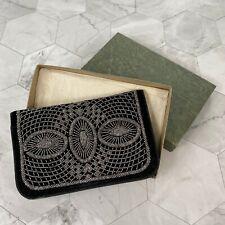 Vintage 1920s Beaded Black Silk Velvet Clutch with Original Box