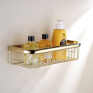 Gold Solid Brass Bathroom Shower Caddy Tidy Organizer Shelf Storage Basket Rack
