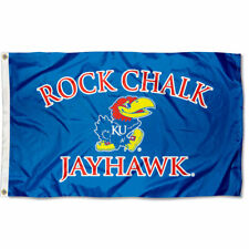 Kansas Jayhawks Flag KU Rock Chalk Large 3x5