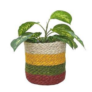 Rustic Basket Planter Ochre Woven Lined Plant Pot Herb Flower Storage Holder