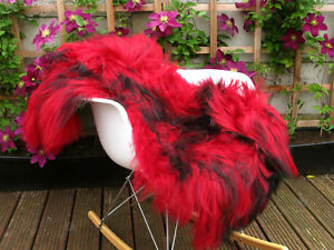 Real Icelandic Sheepskin Rug Dyed Red Black Soft Throw Chair Sofa Cover #432