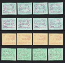HONG KONG MACHINE LABELS 1987-89 RABBIT DRAGON SNAKE 4 X SETS OF 4 MNH