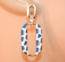 ORECCHINI donna oro dorato bianco blu pendenti ovali strass eleganti boucles A66