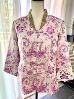 Oriental Asian Jacket Silk Brocade Handmade Chinese Jacket White Lavender