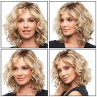 Women Sexy Short Curly Wavy Wig Synthetic Gold Hair Party Cosplay Full Wigs
