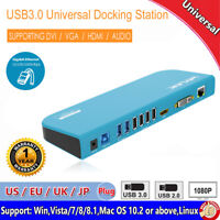 Wavlink USB3.0 Universal Docking Station Dual Video Monitor USB 3.0 HDMI VGA/DVI