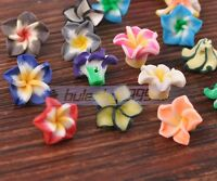 50pcs 15mm Mixed Color Polymer Clay Charms Flower Loose Spacer Beads