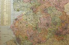 1898 ORIGINAL COUNTY MAP LANCASHIRE SOUTH LIVERPOOL WIGAN BOLTON MANCHESTER