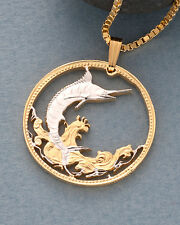 "Blue Marlin Pendant & Necklace Bahamas Coin Hand Cut 1-1/8"" diameter( # 20 )"