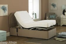 3FT MEMORYFOAM SINGLE BROWN CHENILLE ADJUSTABLE ELECTRIC BED + FOOT END DRAWER