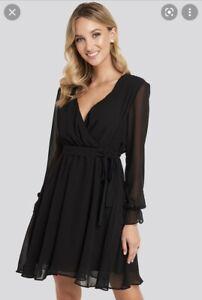 Black Long Sleeve Tie Dress 34 8 Nakd Bnwt
