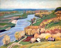 painting Ukranian landscape impressionism vintage river Psel decor art Repin